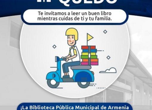 La corporación de Cultura y turismo de Armenia, implementó la estrategia de prestar libros y se los llevan a domicilio hasta su casa