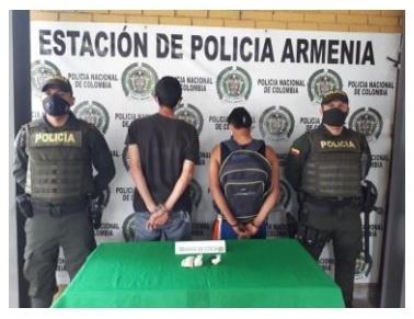 Un hombre y una mujer fueron capturados la Policía del CAI del barrio Santander de Armenia