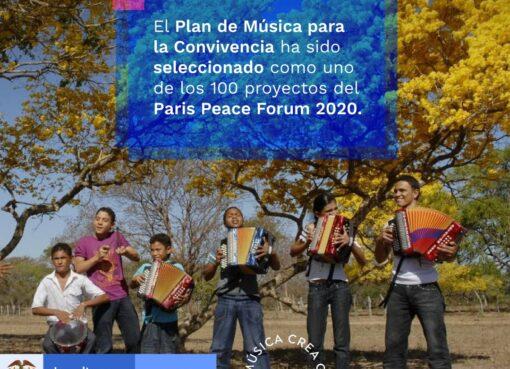 El Plan Nacional de Música para la Convivencia del Ministerio de Cultura fue seleccionado como uno de los 100 proyectos del París Peace Forum