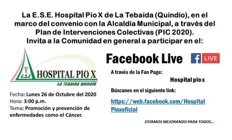 Directivos del Hospital Pio X, de La Tebaida adelantan pedagógicas virtuales como una nueva estrategia del PIC en La Tebaida.