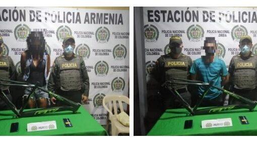 Un hombre y una mujer que se hurtaron un marco de bicicleta avaluado en $500.000 y 2 celulares avaluados en $1.800.000, fueron capturados por la Policía del CAI San José