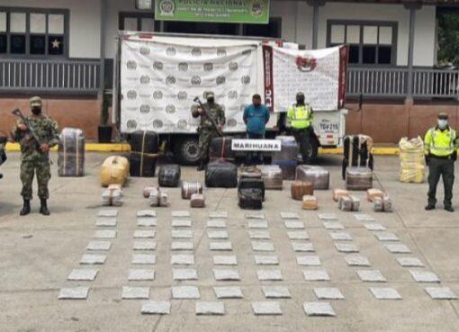 La Policía de la Seccional de Tránsito y Transporte del Quindío incautó 755 kilos de marihuana
